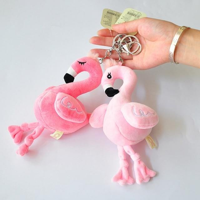 1 pc Flamingo Bonito Pompom Chaveiro Bola de Pêlo de Coelho Fofo Artificial Chaveiros Animal Pássaro Mulheres Saco Cadeia Chave Do Carro Cor Aleatória