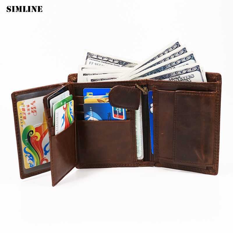 SIMLINE Genuine Leather Men Wallet Men's Vintage Real Cowhide Short Wallets Purse Card Holder With Zipper Pocket Coin Bag Male simline genuine leather men wallet men s vintage crazy horse cowhide short wallets purse with coin bag pocket card holder male