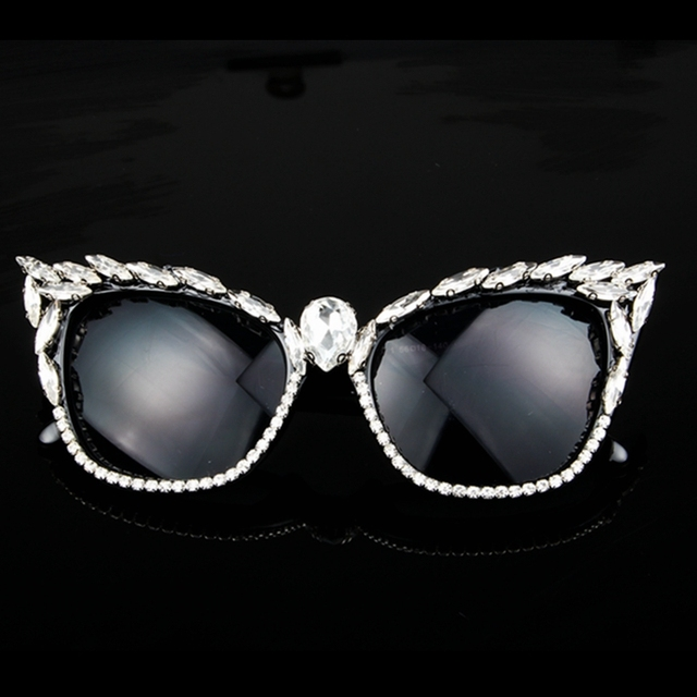 Women Luxury Crystal Cat Eye Brand Designer Sunglasses