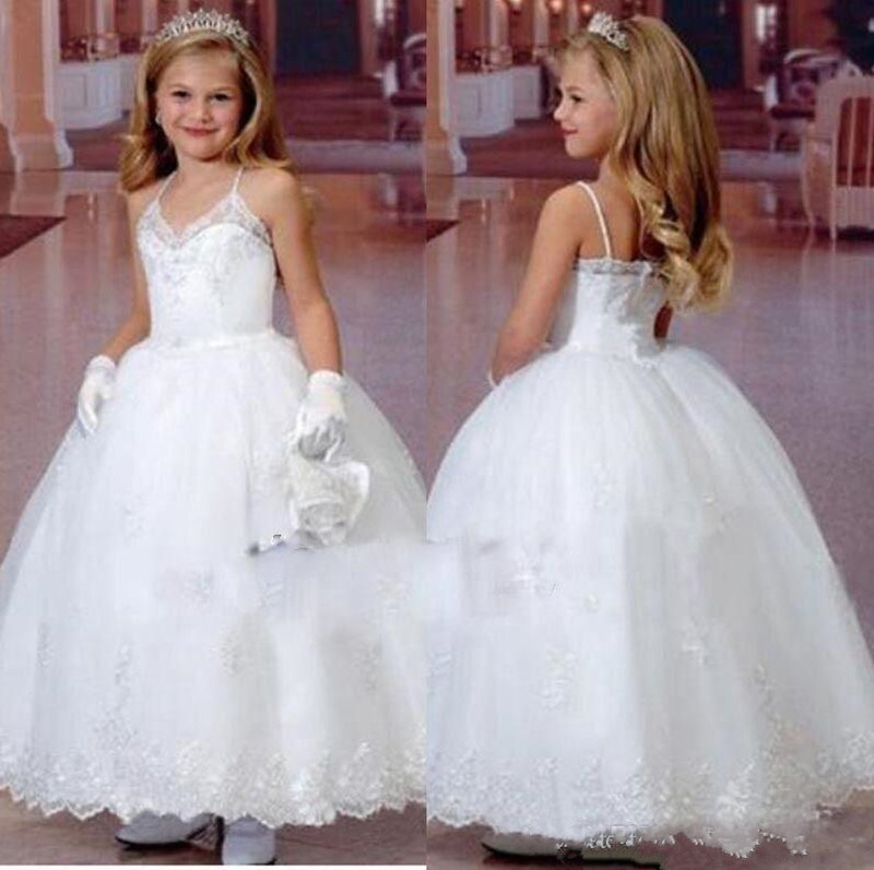 Sexy   Flower     Girl     Dress   with Spaghetti Backless Custom Made For Special Occasion Ankle length Holy First Communion Gowns Vestidos
