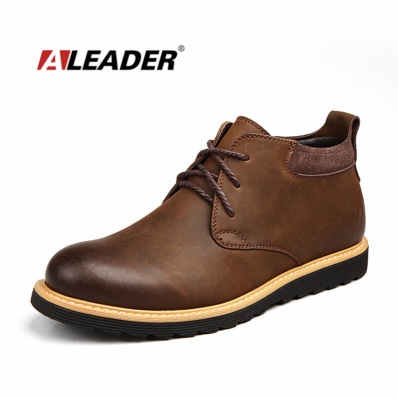 Aleader Waterproof Men Boots Leather Men Shoes 2016 Casual Lace Up Ankle  Boots Western Winter Fashion