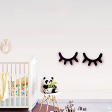 2Pcs Creative 3d Wall Sticker Wooden Eyelashes Cartoon ChildrenS Room Hangings Decoration Home Baby Decor