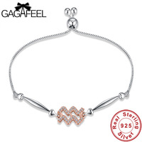 Gagafeel High Quality Women 12 Zodiac Constellations Aquarius Bracelets Authentic 100 925 Sterling Silver Jewelry Girls