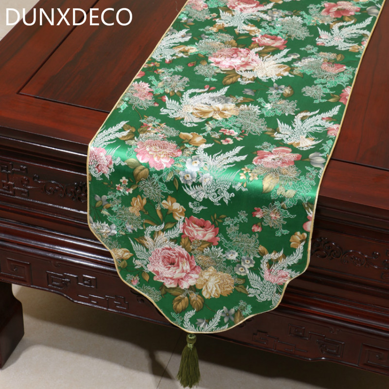 DUNXDECO Table Runner Table Cover Fabric Elegant Artistic Chinese  Traditional Flora Home Party Mesa Decoration