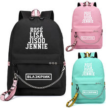 Kopo BlackPink Rose Lisa JENNIE USB Backpack School Bags Black Pink Mochila Travel Bags Laptop Chain Backpack Headphone USB Port(China)