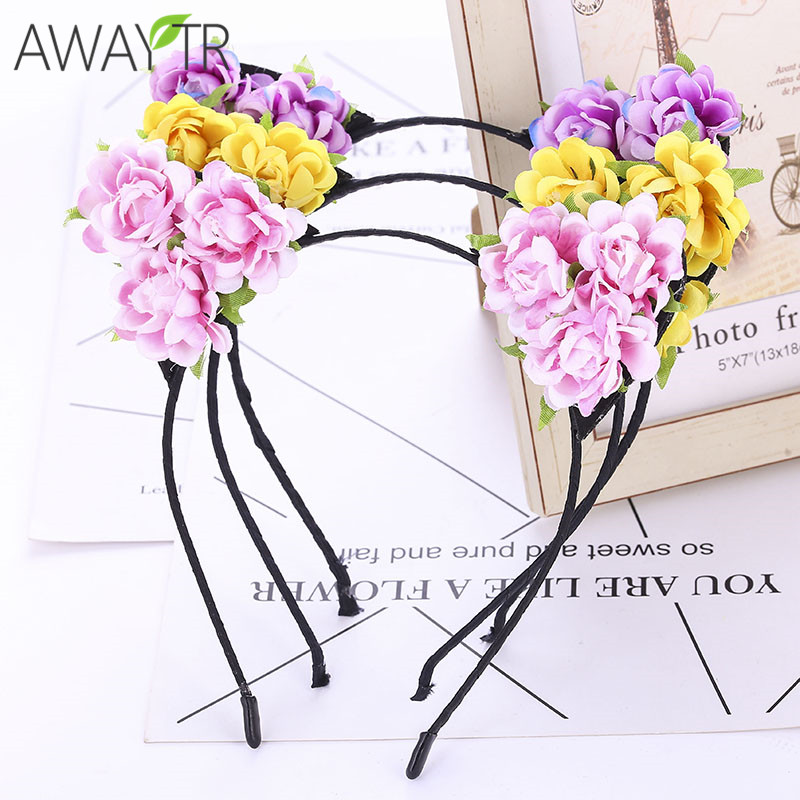 Flower Cat Ears Hairbands Children Spring Headwear Cloth Flower Hair Accessories Boho Style Headbands Hot Sale Women Tiaras