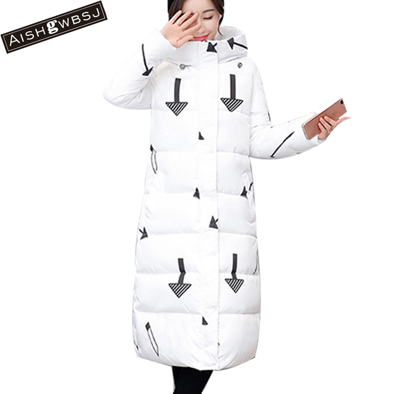AISHGWBSJ Plus Size Winter Overcoat For Women Long Cotton Jackets Padded Hooded Parkas With Zipper Camouflage Snow Coats PL079 winter 2014 women thick hooded cotton padded coats patchwork letters slim zipper overcoat female plus size long parkas 3xl e782