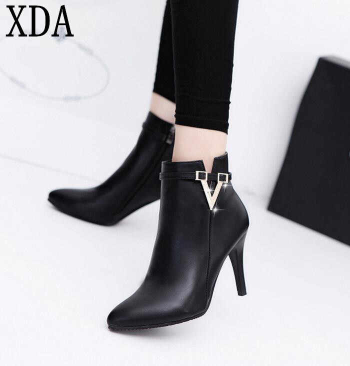 XDA 2019 new Spring Autumn Stiletto Thin High Heels Pointed Toe PU Martin boots Faux Leather Zipper Style Sexy women Ankle Boots
