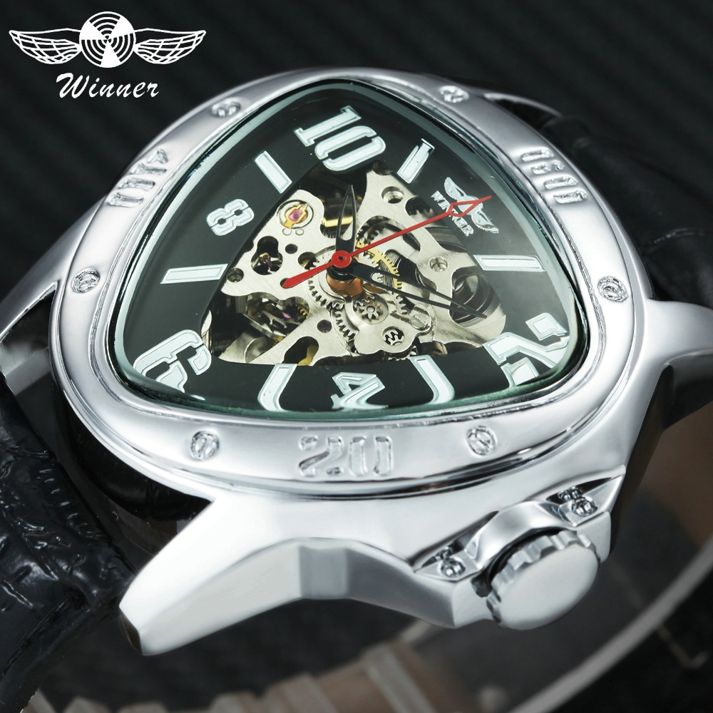 Top Fashion Mens Mechanical Watches WINNER Brand Triangle Mens Automatic Wrist Watches Genuine Leather Strap Skeleton ClockTop Fashion Mens Mechanical Watches WINNER Brand Triangle Mens Automatic Wrist Watches Genuine Leather Strap Skeleton Clock