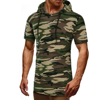 New Fashion 2017 Brand Male T Shirt Hooded Camouflage T Shirt Men Funny Summer Tee Short