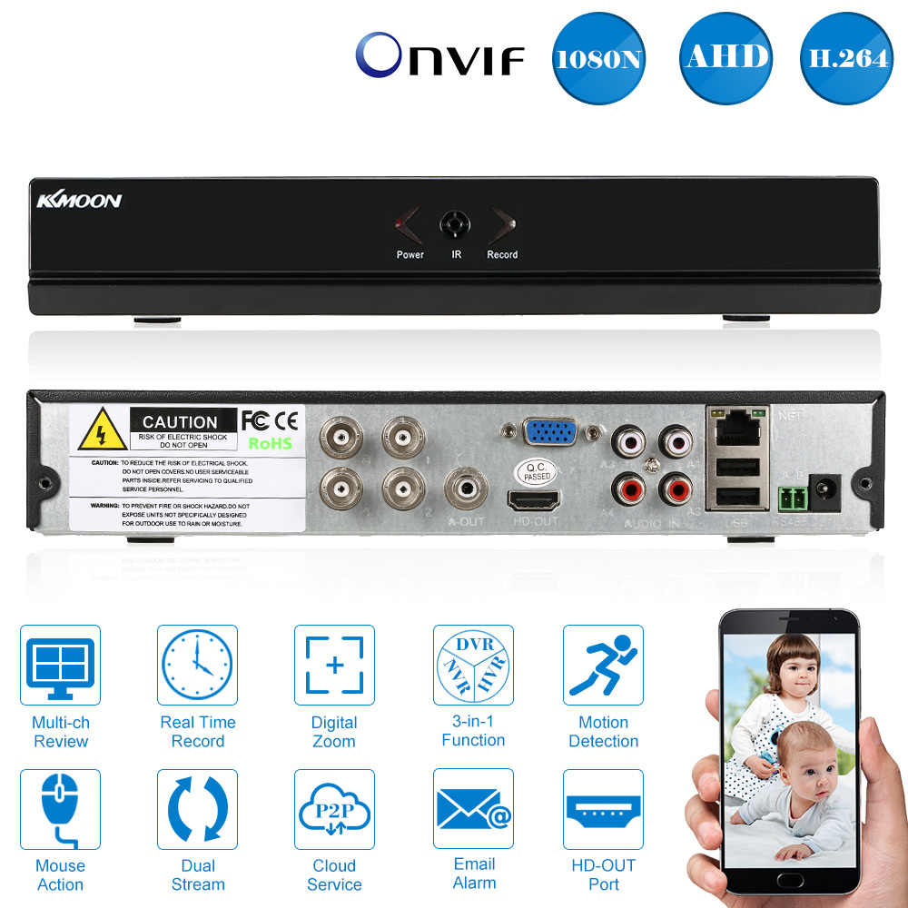 KKmoon 4CH AHD DVR 960H H.264 1920 *1080P HDMI Output 4 Channel Digital Video Recorder P2P Cloud DVR For Security Camera System