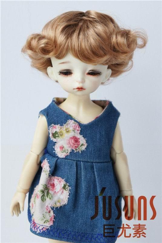 JD369 1/6 YOSD парики для шарнирных кукол модный кудрявый парик 6-7 дюймов BJD синтетический, мохеровый, для куклы парики аксессуары для кукол - Цвет: Golden Blond SM27