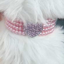 Crystal And Pearl Cat or Dog Necklace