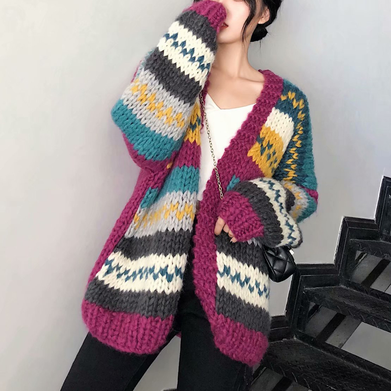 Colorful Striped Casual Women Cardigans Open Stitch 2018 Autumn Winter Hand Knitted Warm Sweater Long Sleeve Tops Coat Cardigans
