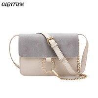 OLGITUM 2018 New Fashion Leather Shoulder bag Autumn Winter Women Metal Handbags Scrub Messenger bag