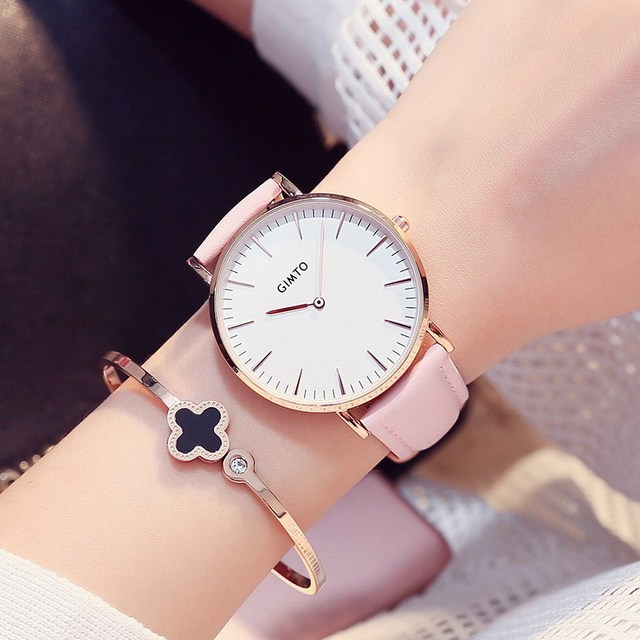 2c2a8c51c6e GIMTO Rosa Moda Mulher Relógios de Ouro Ultra Fino irmã Relógios de Couro  Vestido Ocasional Senhora