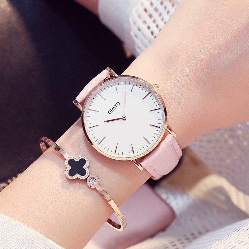 Prix pour Gimto mode rose femme horloges ultra mince or en cuir wateproof robe casual lady montre-bracelet 2017 unique sœur de montres