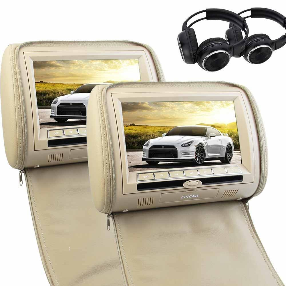 Pair of Headphones included! 9 Inch widescreen Car Headrest Monitor with FM Transmitter Dual Screen CD DVD Player Support USB/SD pair of 7 hd digital widescreen 2 headrest pillow car usb sd cd dvd player with rca input video player support fm transmitter