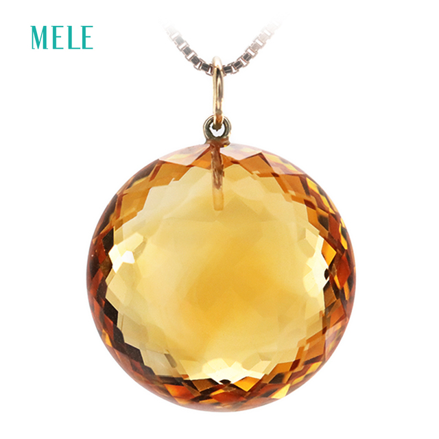Natural yellow citrine 18K yellow gold pendant for women, real 18K gold, big round 18mm*18mm, deep color and beautiful cutting