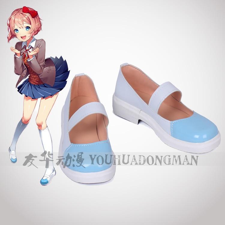 Game Doki Doki Literature Club Yuri cosplay shoes DDLC Sayori role play anime flat shoes Girl Natsuki Lolita shoes