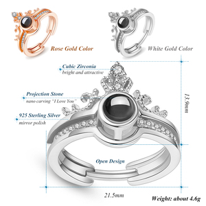 """Image 3 - Rose Gold 100 Languages """"I Love You"""" Memory Crown Couple Rings New Engagement Wedding Ring Set 925 Sterling Silver Women Jewelry"""