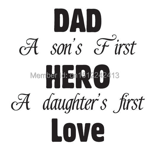 aliexpresscom buy art letter dad father son and daughters hero home decoration wall art decals quote living room wall sticker decor from reliable