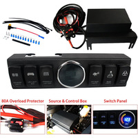 Overhead 6 Switch Pod / Panel with Control and Source System Blue Back Light for Wrangler JK & JKU 2009 2017