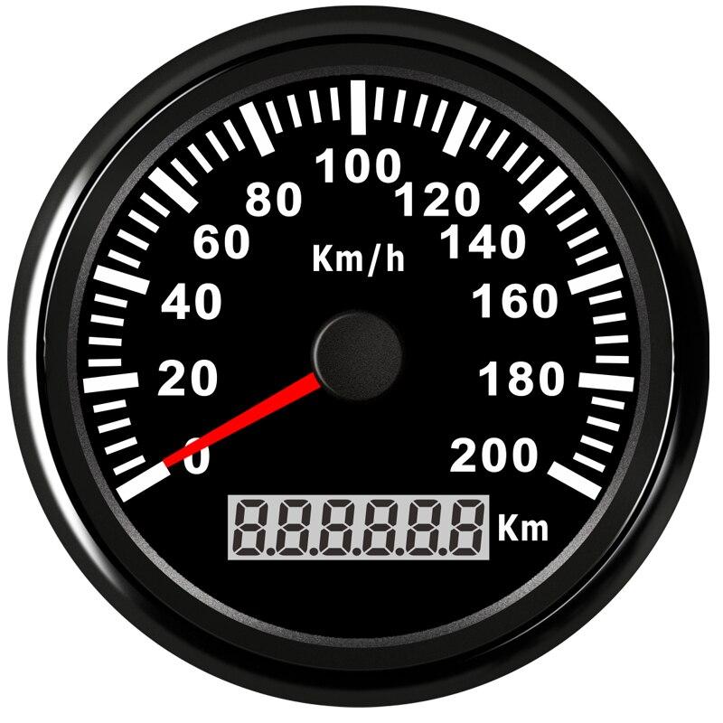 316L Bezel 85mm 12V 24V Universal Medidor de Velocidade GPS Odômetro Velocímetro Com Backlight 200 KMH para o Carro truck Marine Boat ATV UTV