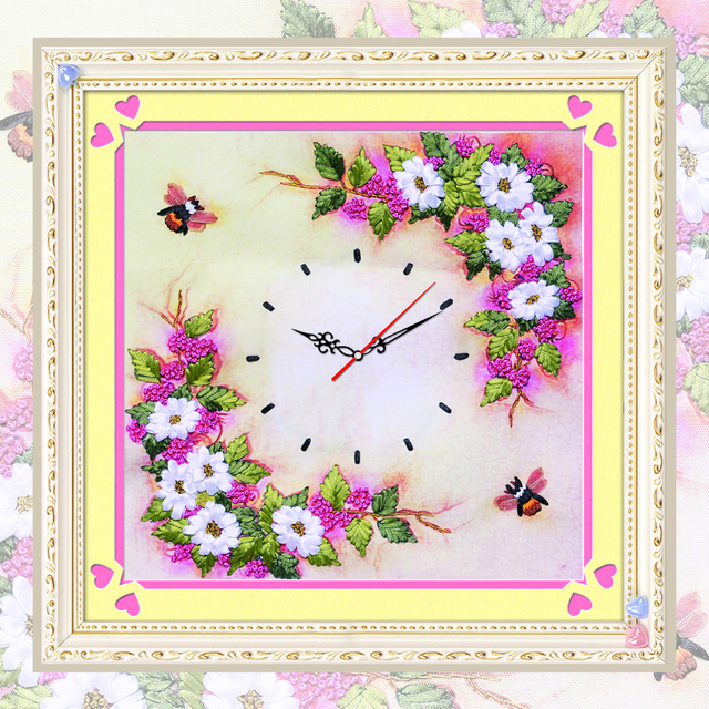 Diy Ribbons Embroidery Flower Clock Decorative Canvas Painting Colored Hd Prints Needlework Cross Sch Kit Home