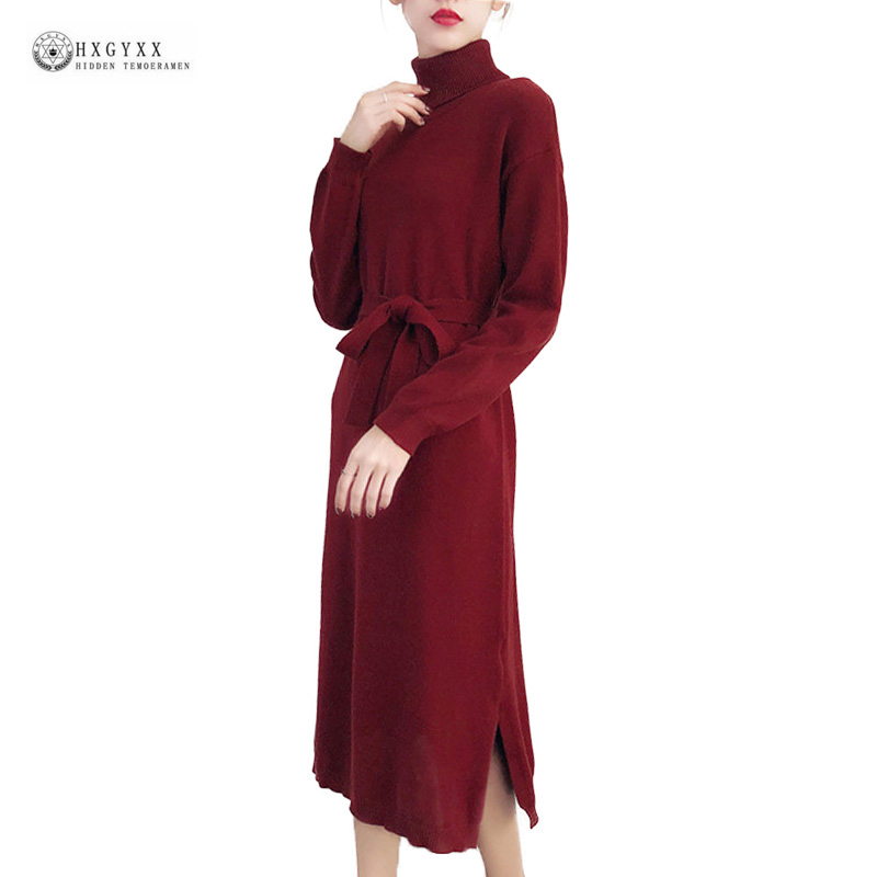 New Knitted Women Dress Turtleneck Pure Color Casual Loose Sweater Dresses Side Split Long Sleeve Knitwear Elegant Dress OK1426 women turtleneck front pocket sweater dress