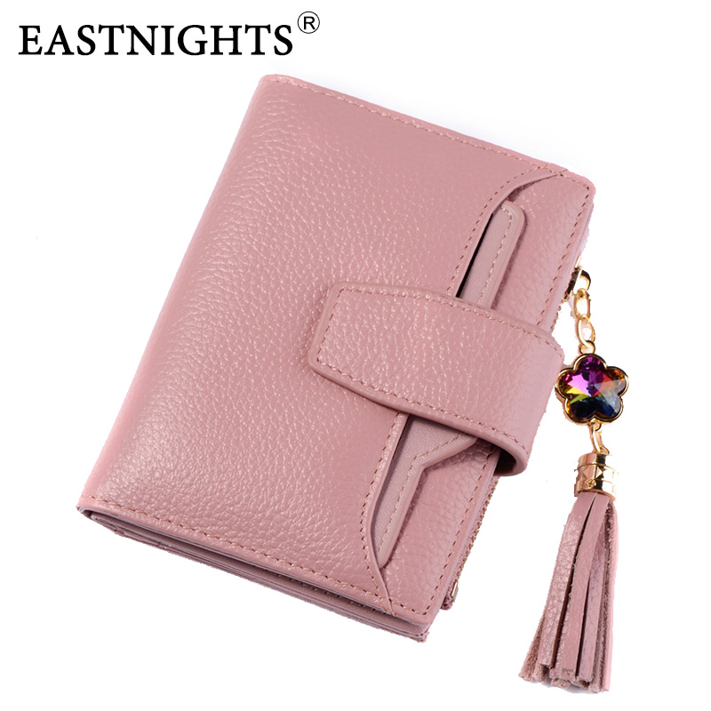 EASTNIGHTS New 2018 Genuine Cow Leather Women Wallets Brand Design High Quality Tassel Wallets With Removable Card Holder TW2629 the new high quality imported green cowboy training cow matador thrilling backdrop of competitive entrance papeles