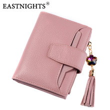 EASTNIGHTS New 2017 Genuine Cow Leather Women Wallets Brand Design High Quality Tassel With Removable Card Holder TW2629