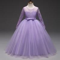Hot Sale 2018 Long Sleeves Flower Girl Dresses For Weddings Lace First Communion Dresses For Girls
