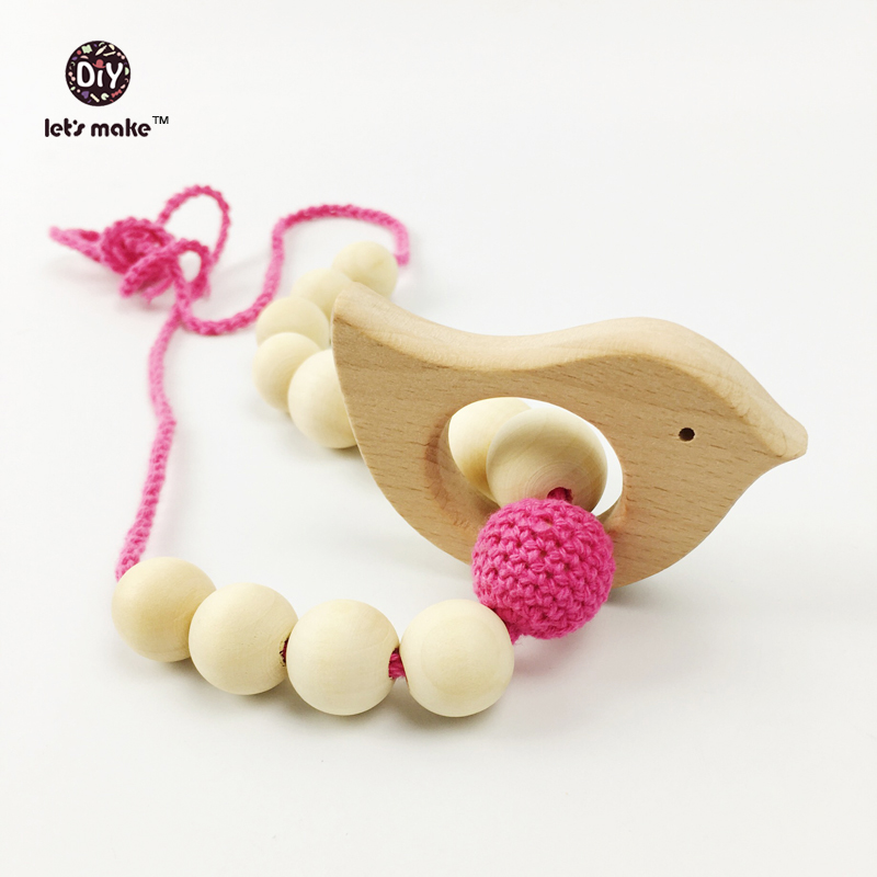 Let's make Teething ring crochet Natural wood teether Wooden teether Rattle Eco frendly toy Baby toys Nursery gift