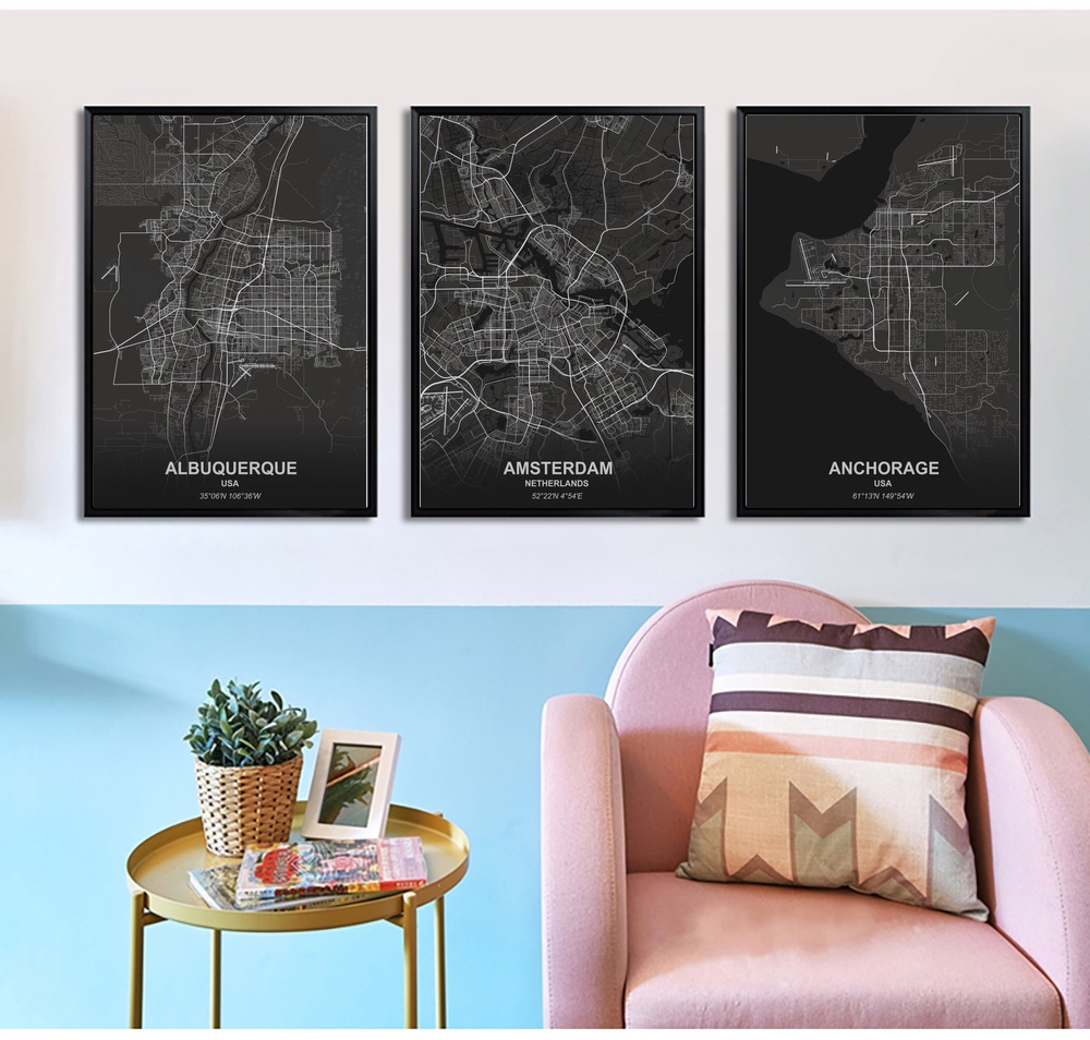 Albuquerque Amsterdam Anchorage Poster Canvas Art Prints Painting Wall Picture For Children Living Room Decor