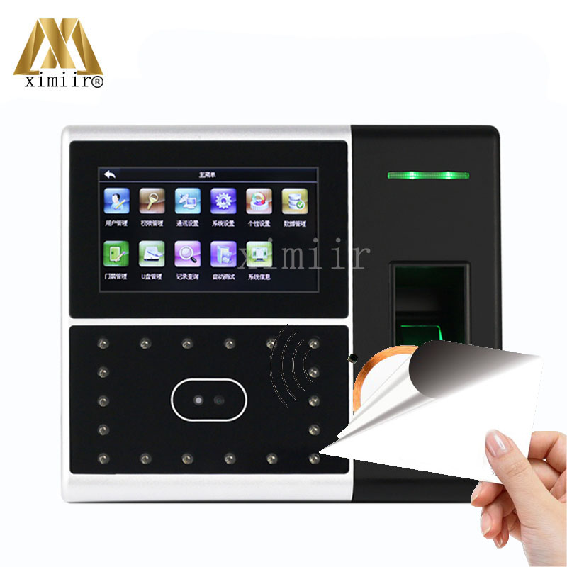 Free Shipping 4.3''TFT Touch Screen MF 13.56MHz Card Reader Access Controller Iface302-H Face Fingerprint Time Recorder