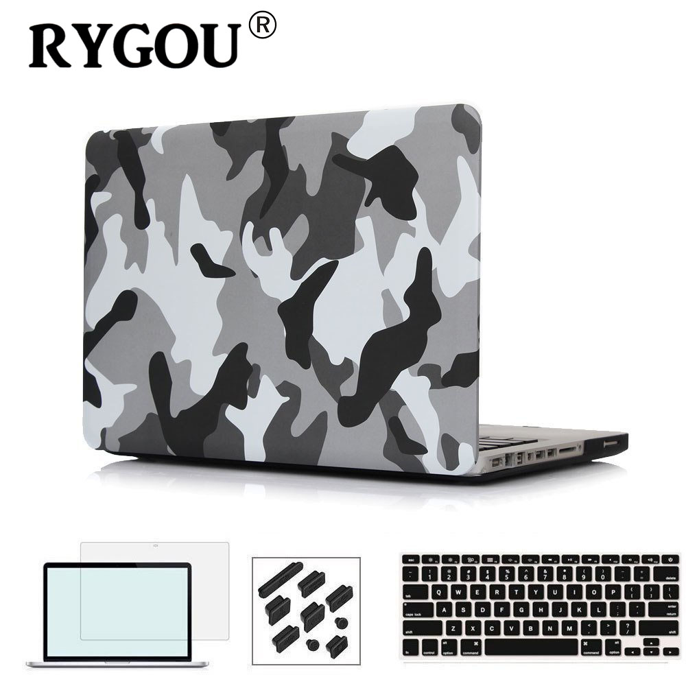 RYGOU Camouflage Pattern Matte Cover with Keyboard Skin Screen Protector for Macbook Air Pro Retina 11 12 13 15 inch Laptop Case