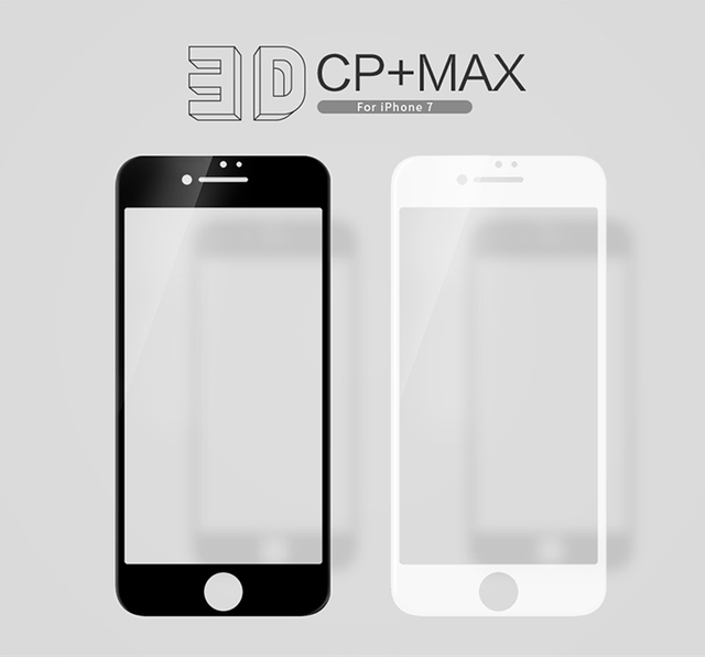 Nillkin para el iphone 7 pantalla 3d cp + max 0.33mm totalmente cubierta anti-explosión de cristal templado protector de pantalla para iphone 7 (4.7 pulgadas)