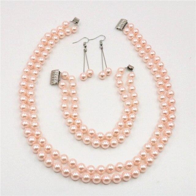 fdfa259875ea Conjunto de joyas de 2 filas 8mm Rosa Shell Mar del Sur collar de perlas  pendientes