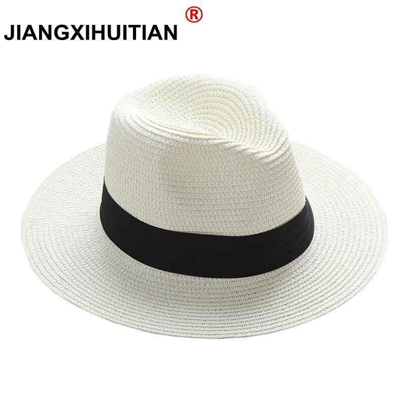 0a5473c18a1 jiangixhuitian 2018 Summer unisex sun hat casual vacation Panama straw hat  women wide brim Beach jazz