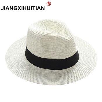 f6af2416001b8 Jiangixhuitian 2018 verano unisex sombrero de sol casual vacaciones Panamá sombrero  de paja mujeres ala ancha playa jazz hombres sombreros Chapeau plegable