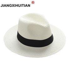 jiangixhuitian 2018 Summer unisex sun hat casual vacation Panama straw hat women wide brim Beach jazz men hats Foldable Chapeau