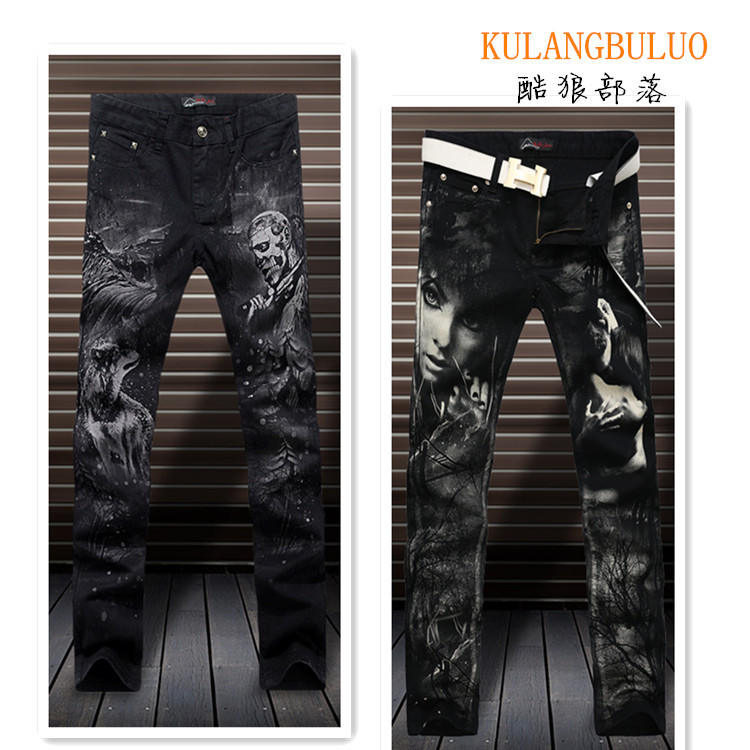 2016 Hot Sale Winter men's jeans slim personalized printing tide products of men's fashion club will battle goods Mens
