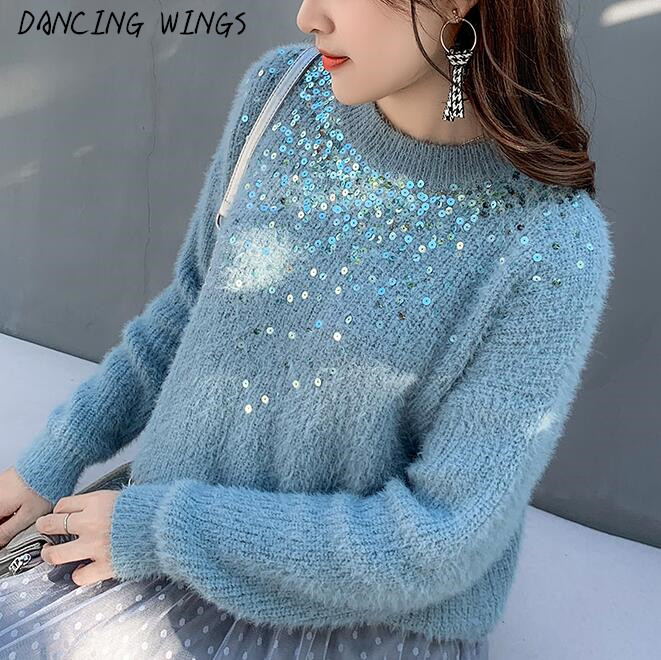 06ebc85fdbe autumn sweater pullovers female 2019 European and American style fashion  sequins knit sweater coat women long sleeve knitwear