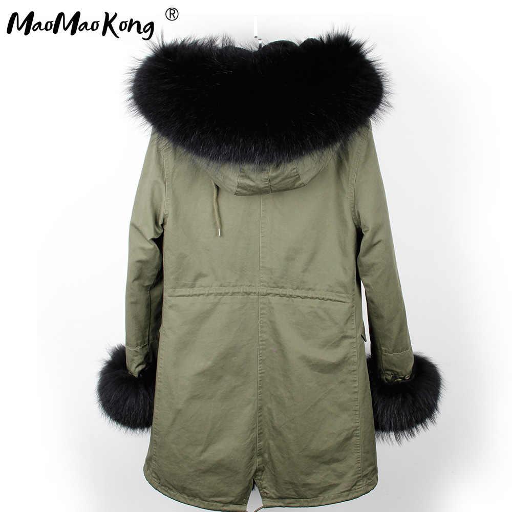 Mini True ขนสัตว์ Parka ผู้หญิงเสื้อฤดูหนาว Hooded Warm raccoon ขนสัตว์ raccoon ขนสัตว์ casual Parkasfaux ขนสัตว์ coatLining