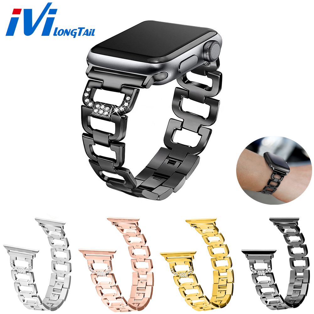 Cover for Apple Watch Case 3 Strap 1 2 38mm 42mm Bling Band watchbands Strap Stainless Metal for iwatch Wristband Sport Bracelet