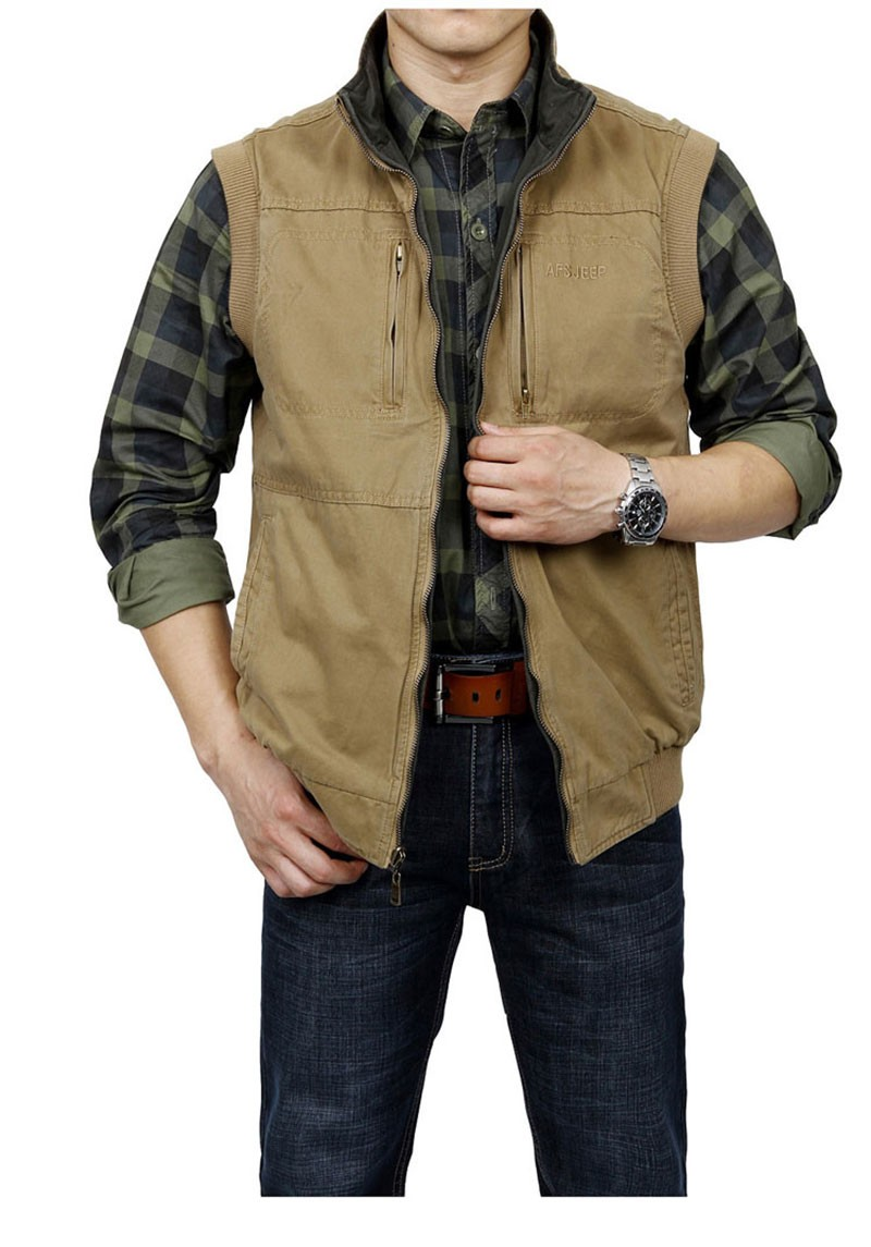 M~3XL 2015 Autumn Spring Reversible Casual Men Vest Coat AFS JEEP Cotton Pocket Cargo Outdoor Sleeveless Jackets Waistcoat Vests (5)