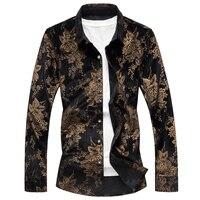 LEFT ROM Spring New S M 5XL 7XL Square Collar Men Long Sleeved Shirt Blue Black