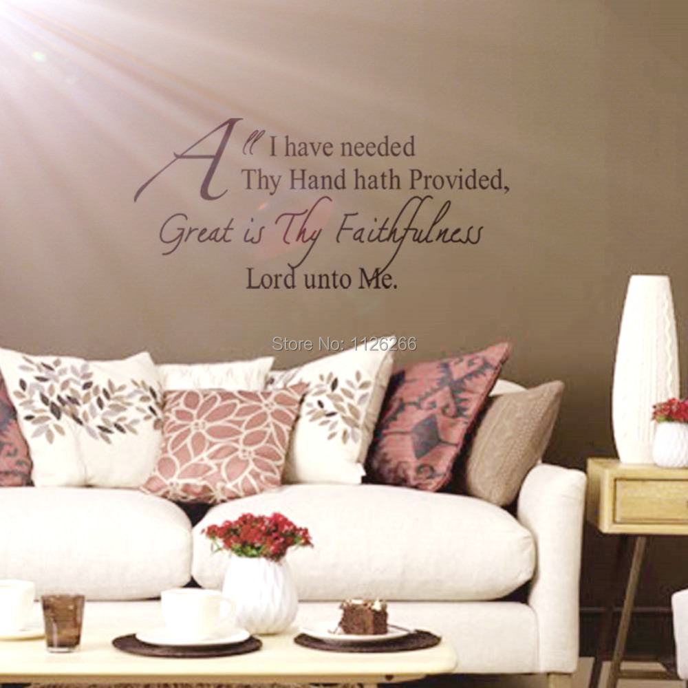 Christian Wall Decals Quotes Great Is Thy Faithfulness Lord Unto Me Vinyl  Decorative Stickers For Living Room In Wall Stickers From Home U0026 Garden On  ...