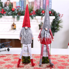 2pcs Handmade Merry Christmas Wine Bottle Cover Decoration Holiday Gifts Figurine Sitting long-legged elf Decor